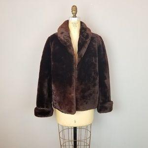 Faux Chocolate Fur Jacket Womens Size 4